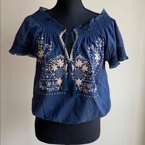 Joie boho-chic top w/ embroidery detail.